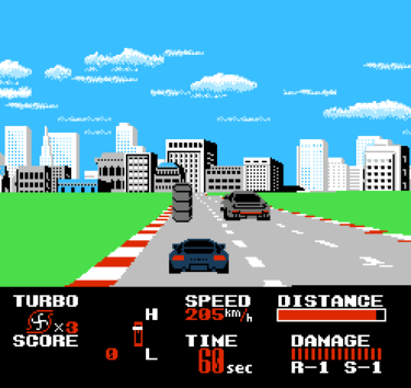 タイトー チェイスH.Q(ファミリーコンピュータ版)~逃げる犯人、追う覆面パト、ぶつかる車体と車体。カーアクション映画の興奮をそのままゲームに